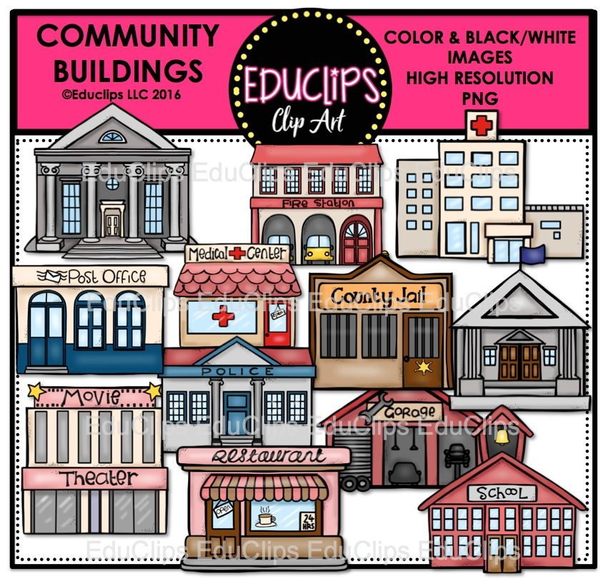 Community Buildings Clip Art Bundle (Color and B&W ...